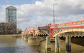 Vauxhall bridge london view along from across the river thames to pimlico in central Stock Photography