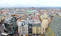 Vciew of Vienna cityscape from the St.Stephan Cathedral roof