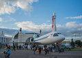 Vdnh exhibition of achievements of national resources moscow summer rocket big plane sun in front the pavilion space is a real Stock Image