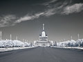 "Vdnkh main avenue infra red photo russia moscow may view on a pavilion â""– from the of complex Royalty Free Stock Photography"
