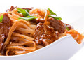 Veal meat with noodles Stock Photo