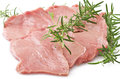 Veal meat and rosemary close up on white Stock Image