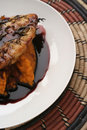 Veal, Pumpkin mash and red wine sauce Royalty Free Stock Photo
