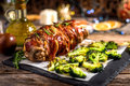 Veal roll rolled with prosciutto and filled with seeds and feta Royalty Free Stock Photo