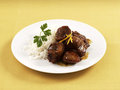 Veal saut  with orange and honey Stock Photo