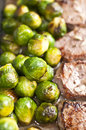 Veal steak with Brussels sprout Royalty Free Stock Images