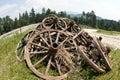 Vecchie rotelle di legno Fotografia Stock Libera da Diritti