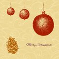 Vecor christmas card with fir tree decorations and cone this is file of eps format Stock Photography