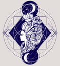 Vecor illustration of woman head with beautiful hairstyle with ship and waves.
