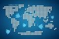 Vecteur dots world map avec des poissons Image stock