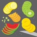 Vecteur frais de bande dessinée de tranche de morceau de kaki de pastèque de banana grape kiwi pineapple de cuisinier de Photographie stock libre de droits