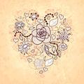 Vector ф ористическое сер це doodle цветков  истья Стоковое Изображение RF