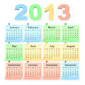 Vector 2013 calendar, week starts with sunday Stock Photos