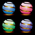 Vector 3d shiny globes with light inside. eps 10 Stock Image