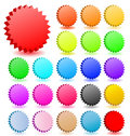 Blank star button set vector icon web buttons tag tags label sticker 3D shape design banner colored red green yellow blue orange Royalty Free Stock Photo