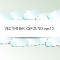 Vector abstract background composed of white paper clouds over blue. Eps10
