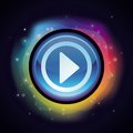 Vector abstract background in rainbow colours with play button Stock Photography
