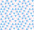 Vector abstract background, seamless pattern. Blue pink white triangle shapes texture. Kids geometric mosaic pattern Royalty Free Stock Photo