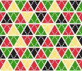 Vector abstract background, seamless pattern. Christmas colors triangles texture. Red green yellow geometric mosaic
