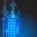 Vector abstract blue background with arrows. business illustration. Royalty Free Stock Photo