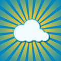 Vector abstract blue background with sun rays and cloud Royalty Free Stock Photo