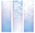 Vector abstract blue bokeh and stars patterns banners. Royalty Free Stock Photo