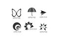 Vector abstract butterfly, umbrella, arrow, round, circle, star, swirl shape logo icons set for corporate and business identity