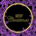 Vector abstract Christmas violet neon wreath with snowflakes and gold glittering traditional greeting on dark background Royalty Free Stock Photo