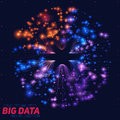 Vector abstract colorful big data information sorting visualization. Social network, financial analysis of complex