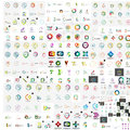 Vector abstract company logos mega collection loops concepts swirls waves Stock Images