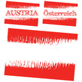 Vector abstract flag of austria three versions with text österreich and without text isolated illustration Royalty Free Stock Photo