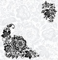 Vector abstract floral design elements in russian traditional ornament and seamless pattern hohloma Stock Photography