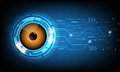 Vector abstract futuristic eyeball on circuit board background.