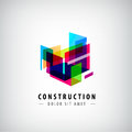 Vector abstract geometric construction, structure logo. Colorful 3d architecture