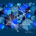 Vector of abstract geometric 3D cube pattern and dark blue backg