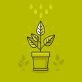 Vector abstract growth concept new plant in the pot icon in flat style Royalty Free Stock Photography