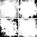 Vector abstract grunge cracked texture black and white border set Stock Photos