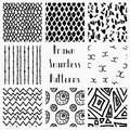 Vector Abstract Hand Drawn Black Seamless Patterns