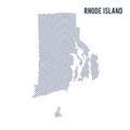 Vector abstract hatched map of State of Rhode Island with spiral lines isolated on a white background. Royalty Free Stock Photo