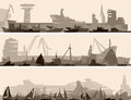 Vector abstract horizontal cartoon banner big harbor many different ships Royalty Free Stock Images