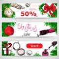 Vector abstract illustration with fir branches, Christmas ball, pocket watches, gifts, nail polish, powder and lip gloss