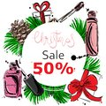 Vector abstract illustration with fir branches, fir cones, gifts, nail polish and lip gloss
