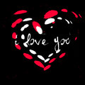 Vector abstract ink splatter red and white heart on black background Royalty Free Stock Photo