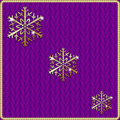 Vector abstract knitted pink background with gold snowflake embroidery thread Royalty Free Stock Photos