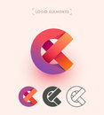 Vector abstract logo design. Can be used as E, X, C origami paper letters. Branding elements collection. Royalty Free Stock Photo