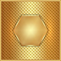 Vector abstract metal gold hexagon with cells Royalty Free Stock Photo