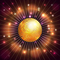 Vector abstract planet star rays and fire dark background with Royalty Free Stock Images