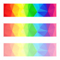 Vector abstract polygon banners with a triangle pattern with different opacity - full spectrum color rainbow strip