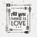 Vector abstract romantic ethnic frame with arrows and typographic text `All you need is Love`