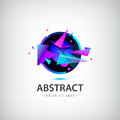 Vector abstract sphere logo with geometric shapes.